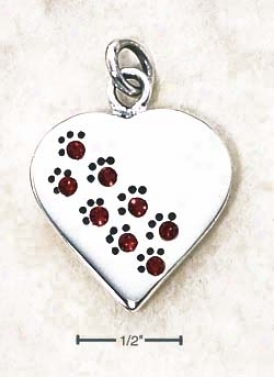 Ss July Cz Paw Print Heart Pendant (backside Is Engravable)