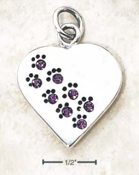 Ss June Cz Paw Print Heart Pendant (backside Is Engravable)