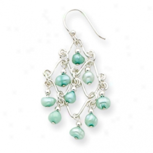 Ss Light Green Cultured Pewrl Fancy Chadelier Earrings