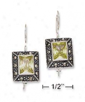 Sd Marcasite Border With Lt Green Cz Centers Earrings