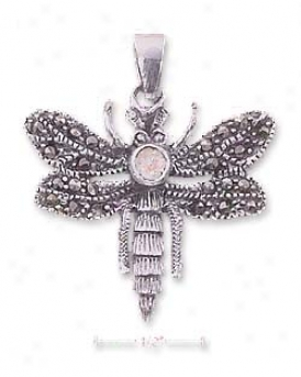 Ss Marcasite Dragonfly Pendant With Pink Cz ( Appr. 1 Inch)