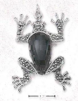Ss Marcasite Frog Pendant With Genuine Onyx Body St0ne Eyes