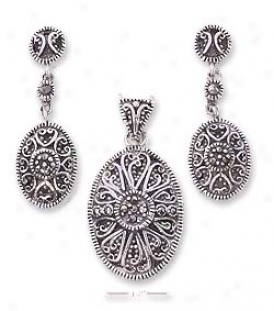 Ss Marcasite Heart Design Post Drop Earrings Pendant Set