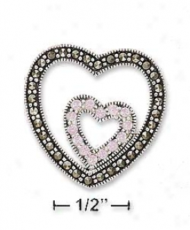 Ss Marcasite Hewrt Inscribed Pink Cz Heart Charm (no Chain)