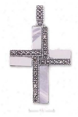 Ss Marcasite Mop Striped Cross Pendant (appr. 1 3/4 Inch)
