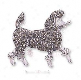 Ss Marcasite Poodle With Garnet Eye Pin (nickel Free)