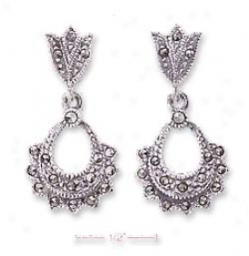 Ss Marcasite Tulip Post Earrings Scalloped Open Tear Dangle