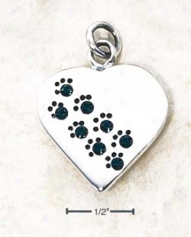 Ss May Cz Paw Mark Heart Penddant (bacjside Is Engravable)