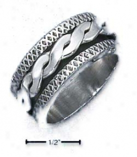 Ss Mens 11mm Rope Spinner Ring Criss-cross Textured Edges