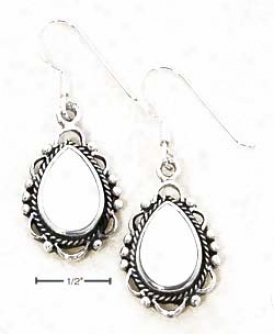 Ss Mother Of Pearl Earrings Lacy Scalloped Beaded Border