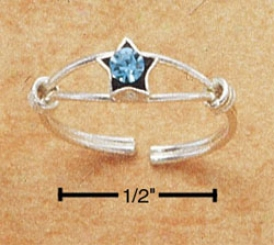 Ss Open Race-course Wire Toe Ring Upon Coils Star With Blue Crystal