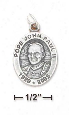 Ss Oxidized 16x19mm Pope John Paul Ii Memorial Charm