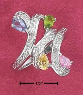 Ss Pink Yellow Cz Imitatipn Peridot Tanzaniye Bypass Ring