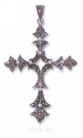Ss Pointed Marcasite Cross Pendant With Beads - 2 1/2 Inch