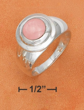 Ss Raised 8mn Pink Shell Ring On 11mm Tapered Ring