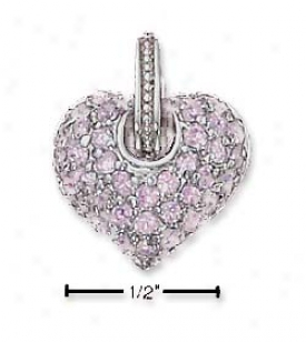 sS Reversible Pink Pave Cz Heaart Charm (filigree Back)