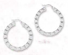 Ss Rippled 1 3/8 Inch Flat Open Circle Earrings French Lock