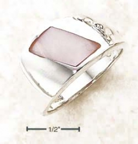 Ss Slanted Pink Mop Shell On Polished Shank Ring