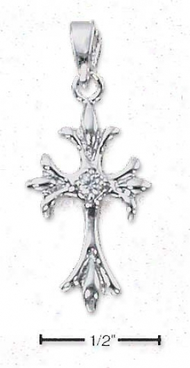 Ss Small Cross Pendant With Branched Ends Cz In Center