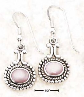Ss Small Wide Pink Mop With Dots Rope Setting Earrings