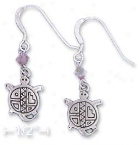 Ss Southwest Turtle Earrings With Purple Swarovski Xtal
