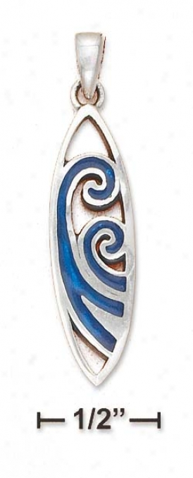 Ss Surfboard With Inlaid Paua Shell Wave Design Charm