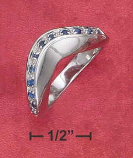 Ss Stnthetic Sapphire Wave Ring (appr. 4mm Spacious)
