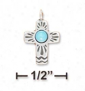 Ss Tiny 1/2 Inch Southwest Gospel With Turquoise Center Charm