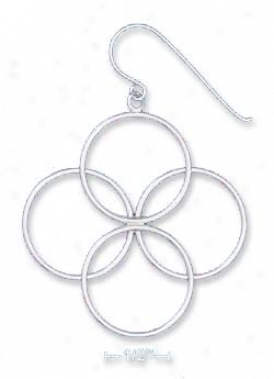 Ss Tube Earrings With 4 Circles Arranged As A Venn Diagram