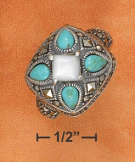 Ss Turquoise Teardrops Mop Diamond On Marcasite Setting Ring