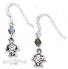Ss Turtle Earrings With Peridot Green wSarovski Crystal