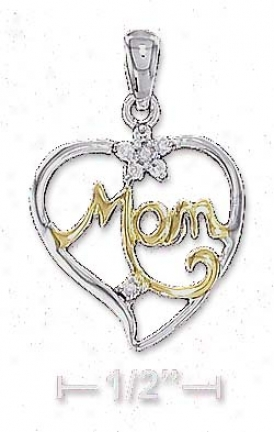Ss Two-tone 17mm Mom Open Heart Hanging appendage With Cz Cz Flower