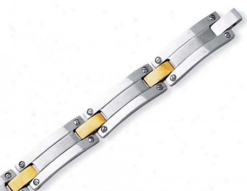 Stainless Steel And 18k Mens Gold Bar Link Bracelet - 8.5 In
