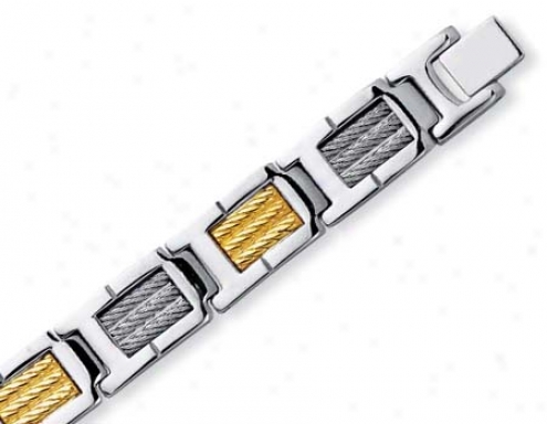 Stainless Steel And 18k Mens Golden Rope Bracelet - 8.5 Inch