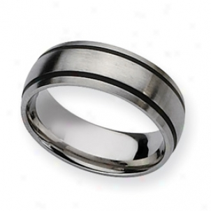 Stainless Steel Black Accent 8mm Satin Band Ring - Size 9.5