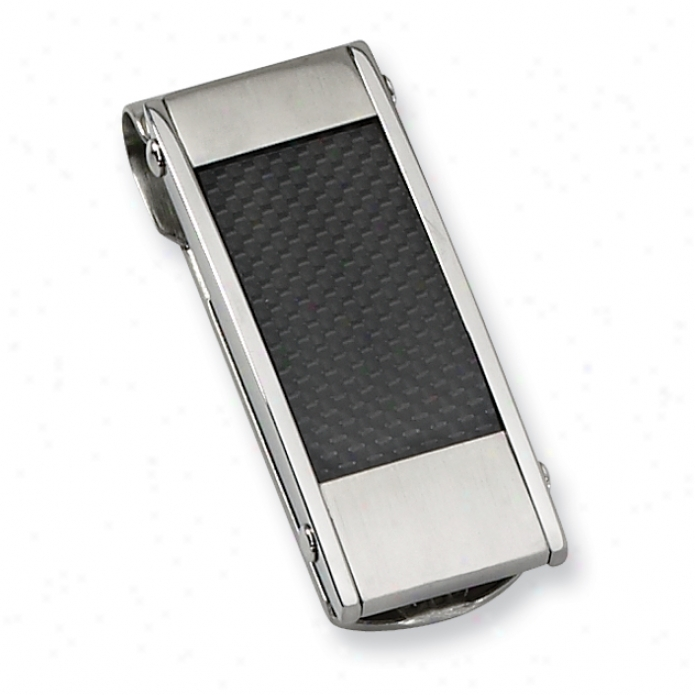 Stainless Steel Black Carbon Fiber Money Clip