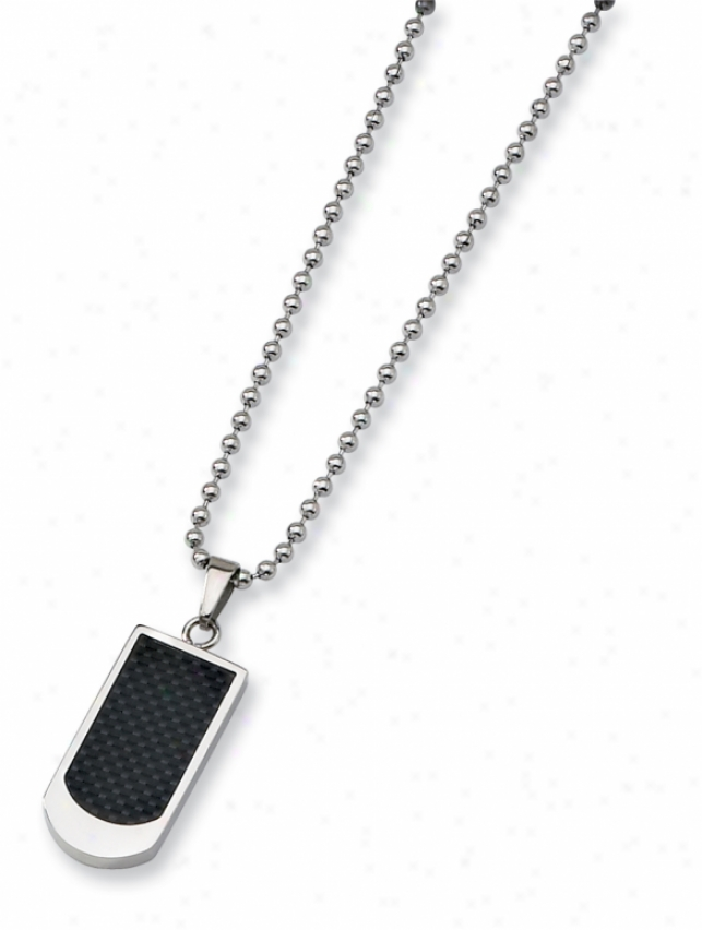 Stainlexs Steel Carbon Fiber Necklace - 22 Inch
