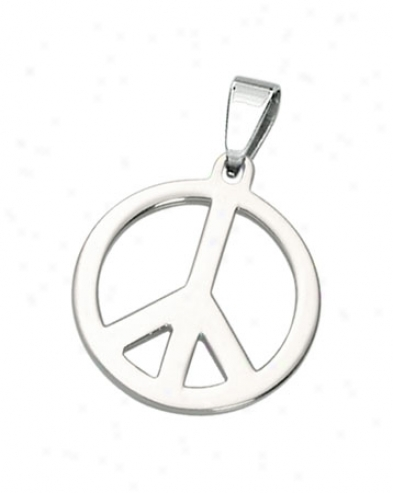 Stainless Steel Carved Out Peace Sign Pendant