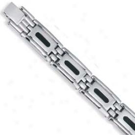 Stainless Steel Designer Mens Bracelet - 8.5 Inch