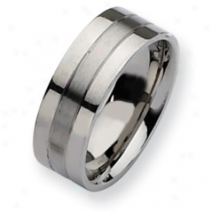 Stainless Steel Flat 8mm Satin Polished Band Ring - Size 7.5