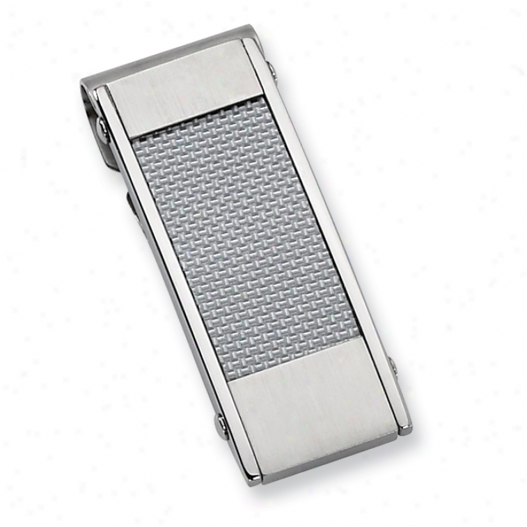 Stainless Steel Grey Carbon Fiber Money Clip