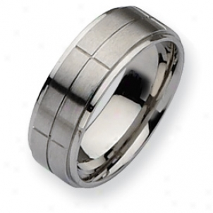 Stainless Steel Grooved 8mm Satin Polishec Band Ring Size 13