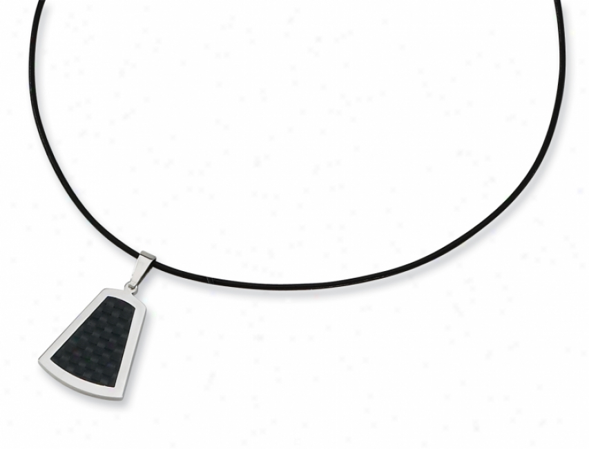 Stainleess Steel Leather Cord Carbon Fiber Necklace - 18 Inch