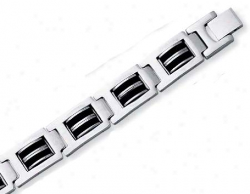 Stainless Steel Mens Steep Link Rubber Bracelet - 8.5 Inch