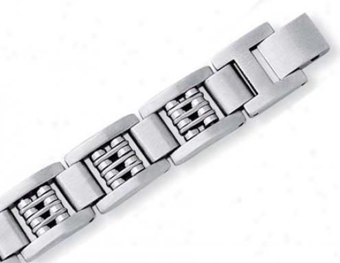 Stainless Steel Mens Fancy Link Bracelet - 8.5 Inch