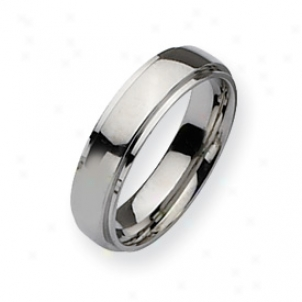 Stainless Steel Ridge Edge 6mm Polished Band Ring Size 8.5