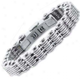 Stainless Steel Seven Layer Mens Link Bracelet - 8.5 Inch