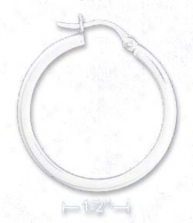Sterling Silver 1 1/4 In. Tubular Stock Earrings French Lock