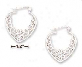 Sterling Silver 1 Inch Heart Shape Pipe Hoop Earrings
