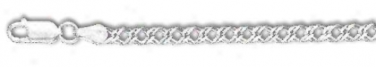 Sterling Silver 10 Inch X 3.0 Mm Rombo Chain Anklet